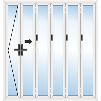 BiFold Door: 6 Leaf - Opening left folding to right