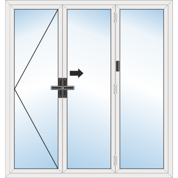 BiFold Door: 3 Leaf - Opening left folding to right