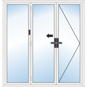 BiFold Door: 3 Leaf - Opening right folding to left
