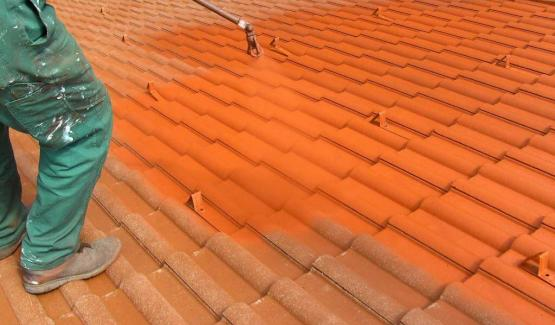 Before roof protective coating on roof