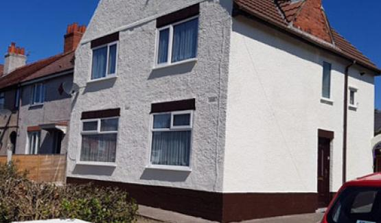 After coating on house