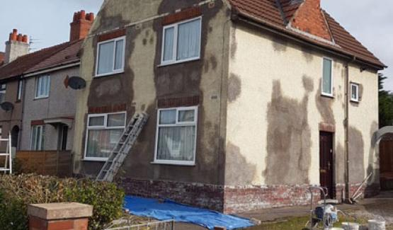 Before wall protective coating on house