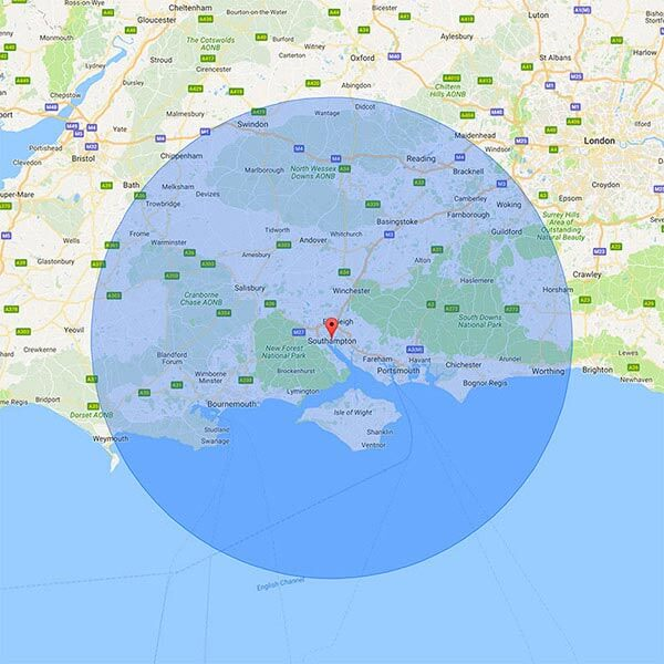 Southampton 50 Mile Radius Map