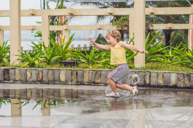 water pooling on concrete driveway